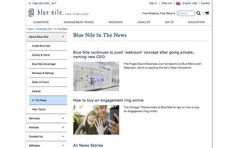 Screenshot of Press Page bluenile.com - In The News | Blue Nile - captured April 19, 2018