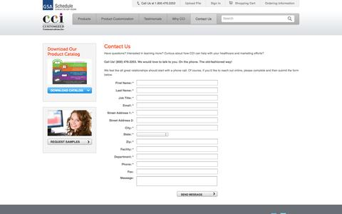 Screenshot of Contact Page Support Page customizedinc.com - Contact CCI - Customized Communications, Inc. - CCI - captured Oct. 23, 2014