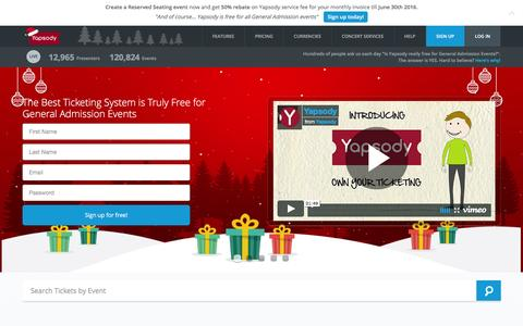 Screenshot of Home Page yapsody.com - Free Event Ticketing | Online Ticketing | Sell Tickets Online - captured Dec. 4, 2015