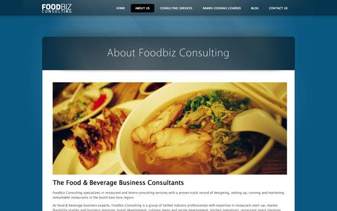 Screenshot of About Page foodbiz.sg - About Foodbiz Consulting ‹ foodbiz.sg - captured Oct. 1, 2014