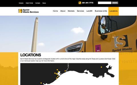 Screenshot of Locations Page sprintwaste.com - locations | Sprint Waste - The Leader in Solid Waste Management - captured Feb. 16, 2016