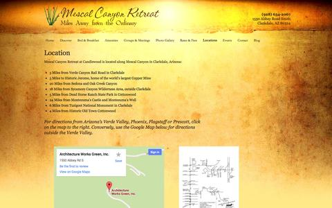 Screenshot of Locations Page mescalcanyonretreat.com - Location | Candlewood Retreat - captured Oct. 4, 2014