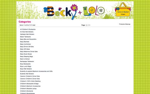 Screenshot of Site Map Page beckyandlolo.co.uk - Childrens Wall Stickers, kids lunch boxes, kids Tableware, Nursery Decor - captured Sept. 19, 2014