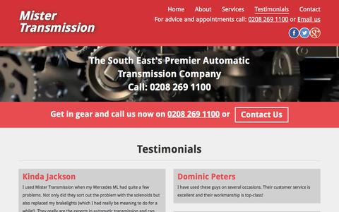 Screenshot of Testimonials Page mistertransmission.co.uk - Testimonials - captured Nov. 6, 2017
