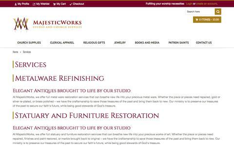 Screenshot of Services Page majesticworks.com - Services - captured Sept. 30, 2014