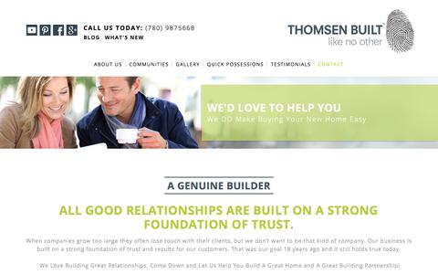 Screenshot of Contact Page thomsenbuilt.com - Contact | Thomsen Built - captured Sept. 21, 2018