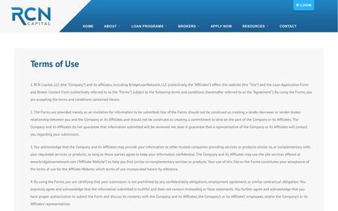 Screenshot of Terms Page rcncapital.com - Terms of Use - RCN Capital - captured Sept. 20, 2018