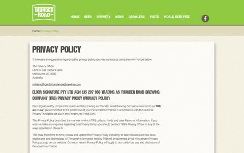 Screenshot of Privacy Page thunderroadbrewing.com - Privacy Policy - Thunder Road Brewing Company - captured Feb. 16, 2016