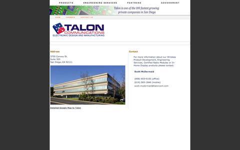 Screenshot of Contact Page taloncom.com - Talon Communications® - captured Oct. 7, 2014