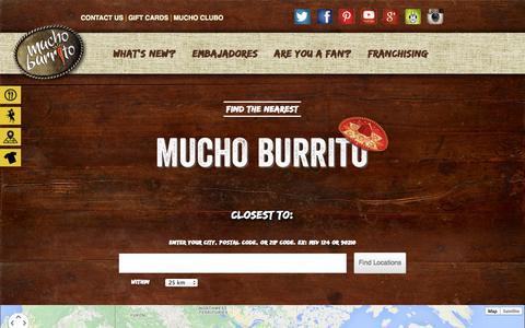 Screenshot of Locations Page muchoburrito.com - Locations | Mucho BurritoMucho Burrito - captured Oct. 26, 2014