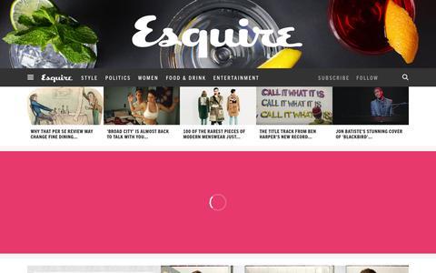 Screenshot of Home Page esquire.com - Esquire - Men's Fashion, Cocktails, Politics, Interviews, and Women - captured Feb. 12, 2016