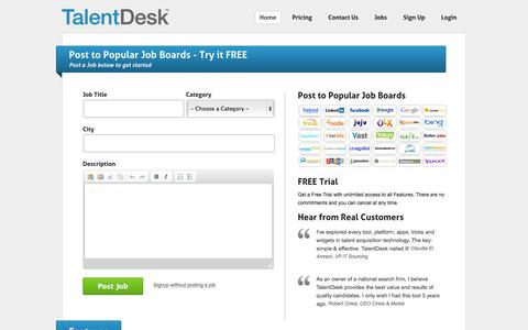 Screenshot of Signup Page talentdesk.com - TalentDesk | Post jobs to free Job Boards | Get free employer job postings with a trial account | TalentDesk - captured Sept. 23, 2014