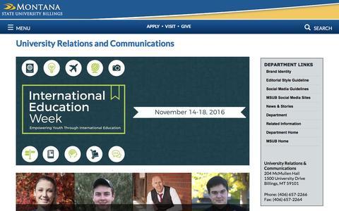Screenshot of Press Page msubillings.edu - University Relations and Communications   MSU Billings - captured Nov. 10, 2016