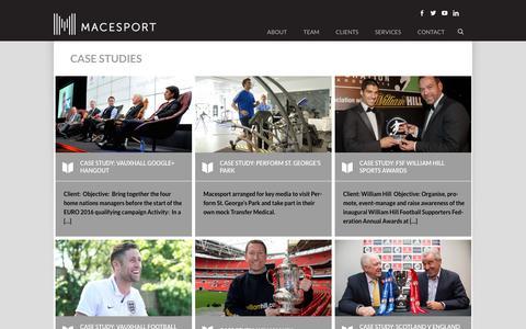 Screenshot of Case Studies Page macesport.com - CASE STUDIES - Macesport - captured Oct. 21, 2018