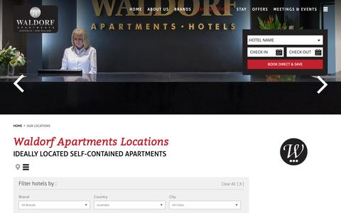 Screenshot of Locations Page waldorf.com.au - Waldorf Serviced Apartment Hotel Locations Australia and NZ - captured Oct. 24, 2018