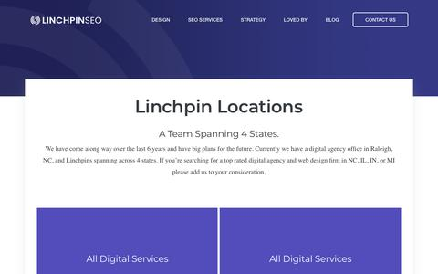 Screenshot of Locations Page linchpinseo.com - Linchpin SEO Locations: Raleigh, Chicago, Ann Arbor, & Bloomington - captured Feb. 7, 2019