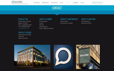 Screenshot of Contact Page shoutlet.com - Contact | Shoutlet – Enterprise Social Relationship Platform - captured July 18, 2014