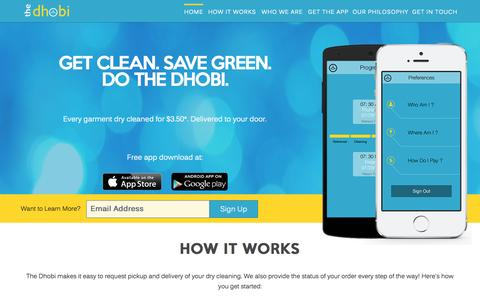 Screenshot of Home Page thedhobi.com - The Dhobi - Mobile Dry Cleaning App | Best Dry Cleaning Delivery Services | Green Dry Cleaners - captured Sept. 30, 2014