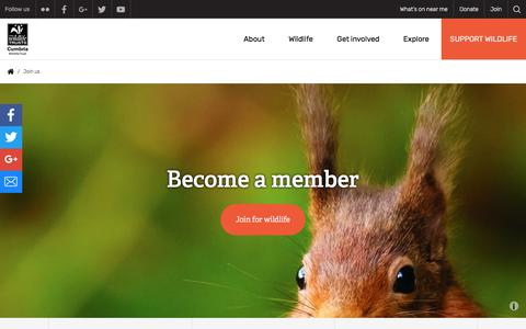 Screenshot of Signup Page cumbriawildlifetrust.org.uk - Join us | Cumbria Wildlife Trust - captured July 23, 2018