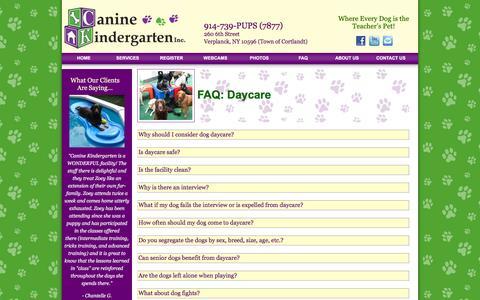 Screenshot of FAQ Page caninekindergarten.com - Canine Kindergarten, Verplank, NY - captured June 20, 2016