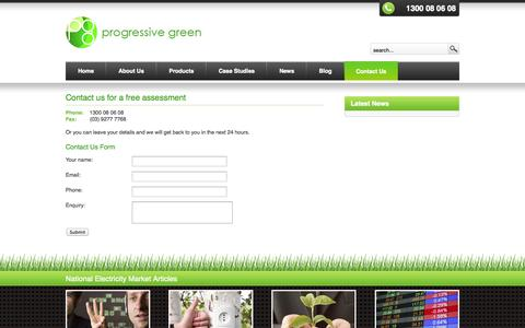 Screenshot of Contact Page progressivegreen.com.au - Contact us for a free assessment - Progressive Green - captured Sept. 30, 2014