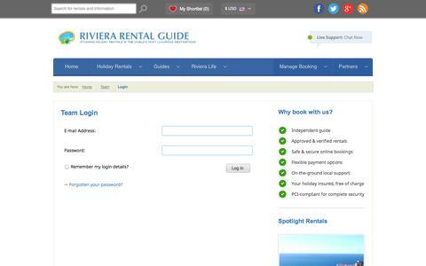 Screenshot of Login Page rivierarentalguide.com - Team Login   Riviera Rental Guide - captured Oct. 26, 2014