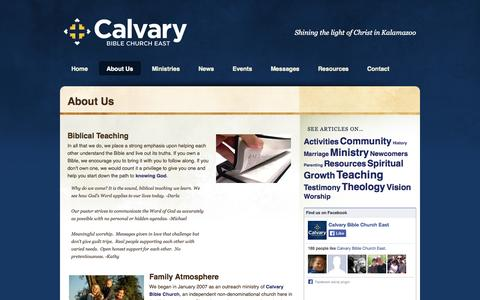 Screenshot of About Page calvaryeast.com - About Us| Calvary Bible Church East - captured Oct. 1, 2014