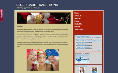 Screenshot of Pricing Page ectransitions.com - Helping Seniors Find A Retirement Residence - ELDER CARE TRANSITIONS - captured Oct. 2, 2014
