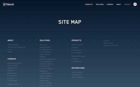 Screenshot of Site Map Page palantir.com - Site Map   Palantir - captured Nov. 18, 2015