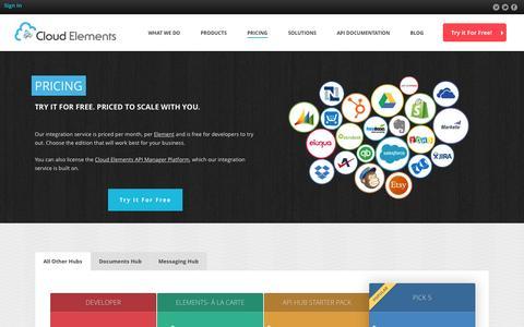 Screenshot of Pricing Page cloud-elements.com - Pricing | Cloud Elements | API Management and Integration - captured Nov. 9, 2015