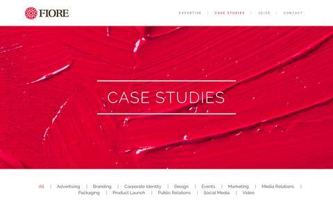 Screenshot of Case Studies Page fioreinspires.com - Fiore     Case Studies - captured Jan. 22, 2016