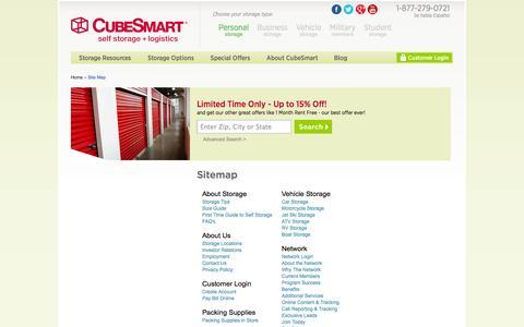 Screenshot of Site Map Page cubesmart.com - Sitemap | CubeSmart Self Storage - captured Sept. 23, 2014