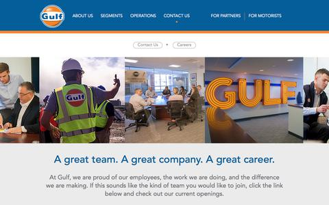 Screenshot of Jobs Page gulfoil.com - Careers | Gulf Oil - captured July 25, 2018