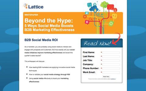 Screenshot of Landing Page lattice-engines.com - Beyond the Hype: 5 Ways Social Media Boosts B2B Marketing Effectiveness - captured Dec. 15, 2015