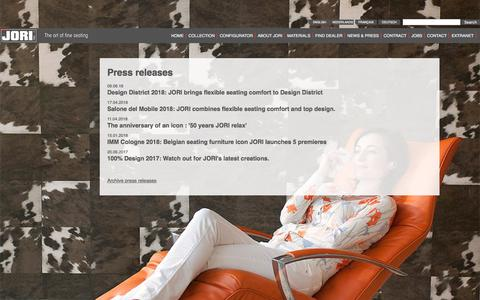 Screenshot of Press Page jori.com - Press releases | Fabric & leather furniture | JORI - captured July 25, 2018