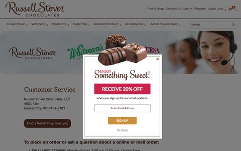Screenshot of Support Page russellstover.com - Customer Service | Russell Stover Chocolates - captured Dec. 17, 2016