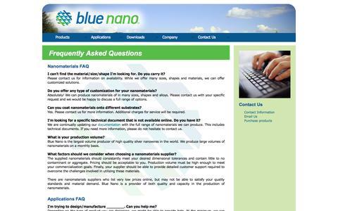 Screenshot of FAQ Page bluenanoinc.com - Blue Nano   About Us - captured Oct. 5, 2014