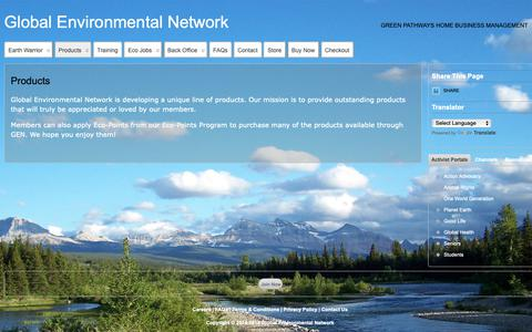 Screenshot of Products Page globalenvironmentalnetwork.com - Products » Global Environmental Network - captured Nov. 26, 2018