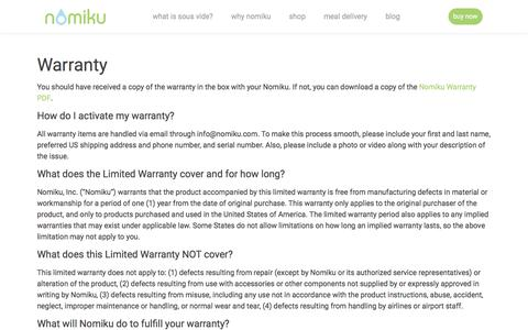 Screenshot of nomiku.com - Warranty | Nomiku - captured Jan. 12, 2018
