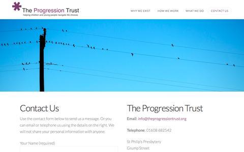 Screenshot of Contact Page theprogressiontrust.org - The Progression Trust | Contact Us - captured Dec. 22, 2016