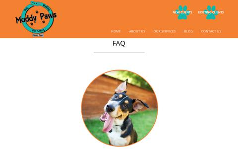 Screenshot of FAQ Page muddypaws.biz - What does dog waking cost? Who walks my dog? Are they insured? - captured July 8, 2018