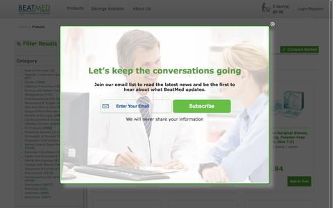 Screenshot of Products Page beatmed.com - Products - captured Feb. 7, 2016