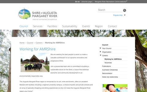 Screenshot of Jobs Page amrshire.wa.gov.au - Working for AMRShire | Shire of Augusta-Margaret River - captured Nov. 2, 2014