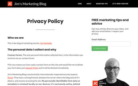 Screenshot of Privacy Page jimsmarketingblog.com - Privacy Policy | Jim's Marketing Blog - captured Oct. 1, 2018