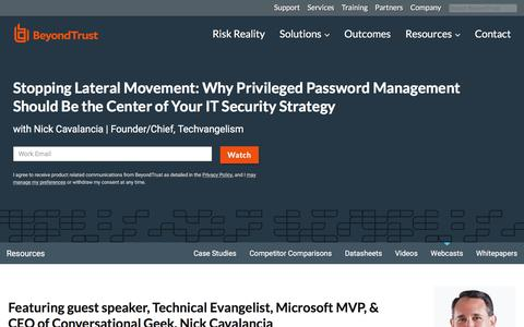 Screenshot of Team Page beyondtrust.com - Stopping Lateral Movement: Why Password Management Should Be the Center of Your IT Security Strategy | BeyondTrust - captured Jan. 3, 2020