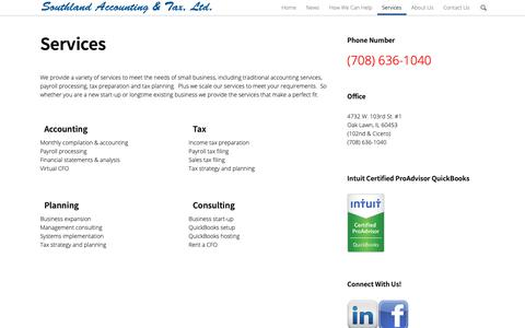 Screenshot of Services Page southland-tax.com - Services | Southland Accounting & Tax - captured Oct. 19, 2018
