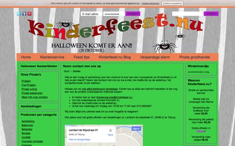 Screenshot of Contact Page kinderfeest.nu - Contact - captured Oct. 7, 2014