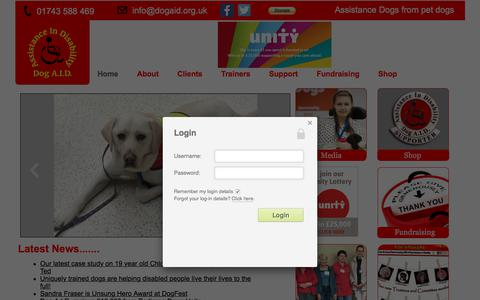 Screenshot of Home Page Login Page dogaid.org.uk - Home - Dog A.I.D. - captured Oct. 12, 2017
