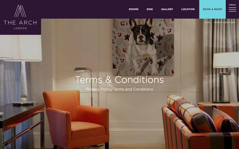 Screenshot of Terms Page thearchlondon.com - Terms & Conditions - The Arch - captured Feb. 18, 2016
