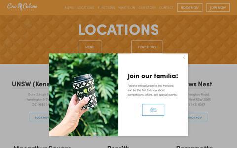 Screenshot of Locations Page cococubano.com - Locations — Coco Cubano - captured Dec. 8, 2018